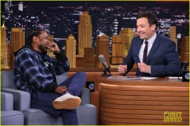 THE TONIGHT SHOW STARRING JIMMY FALLON -- Episode 0395 -- Pictured: (l-r) Hip-hop artist Kendrick Lamar during an interview with host Jimmy Fallon on January 7, 2015 -- (Photo by: Douglas Gorenstein/NBC)